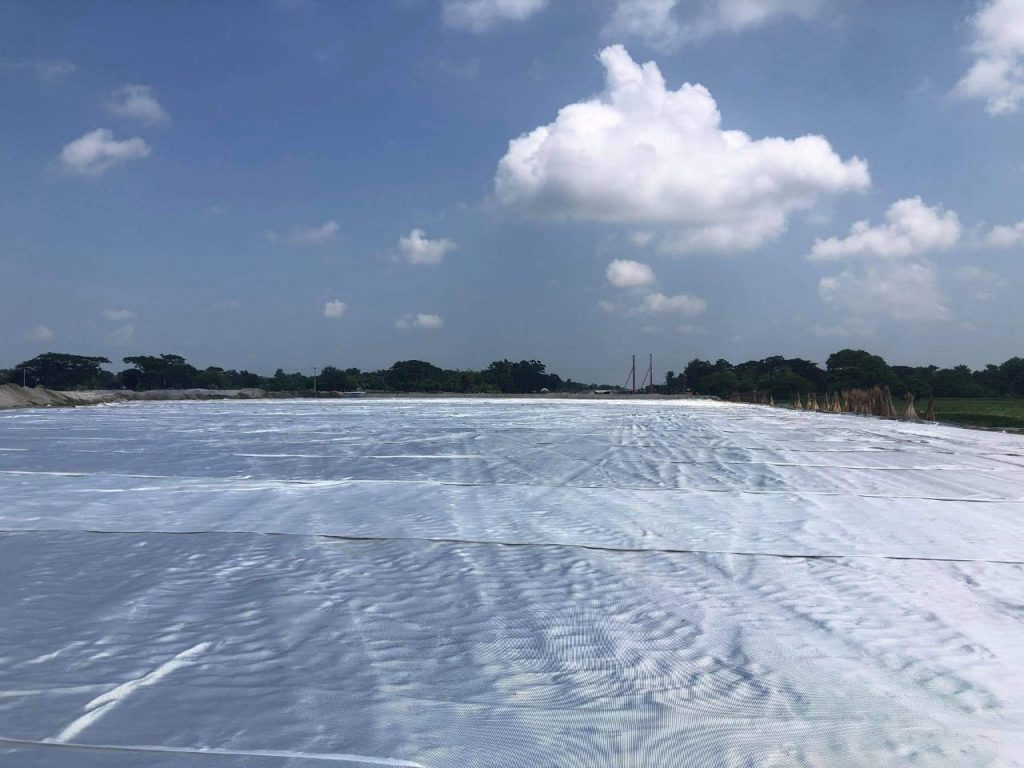 High Strength Geotextile laying from ch 123 312 to 123 587